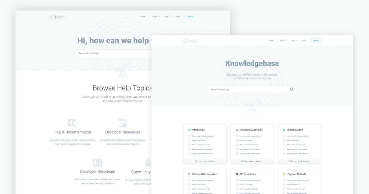 Download Paper - knowledge base Bootstrap4 HTML Template by xvelopers