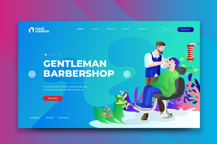 Thumbnail for Gentleman Barbershop Web PSD and AI Vector Templat