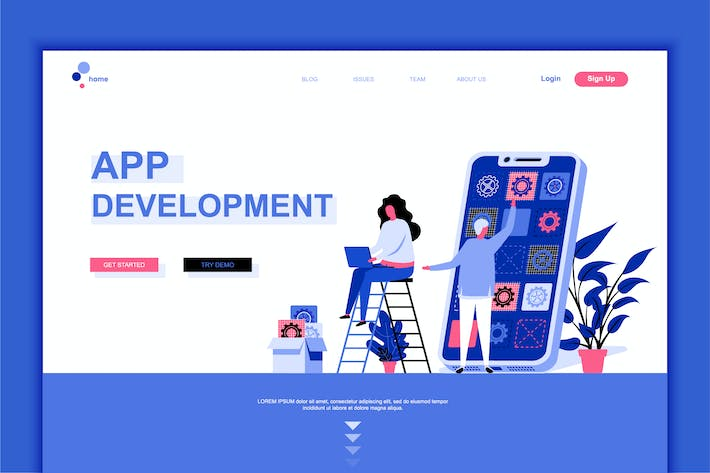 Thumbnail for App Development Flat Landing Page Template