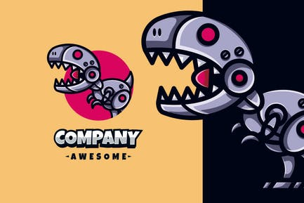 Trex Robot Logo Mascot