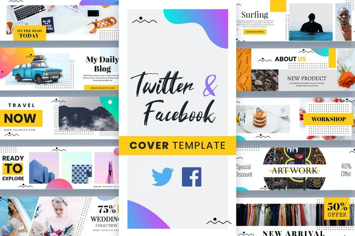Thumbnail for Twitter & Facebook Cover Templates