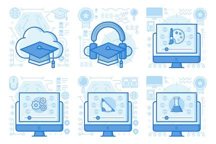 Audio Education UI UX Illustrations