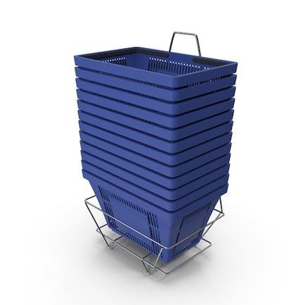 Set aus 12 blauen Einkaufskörben