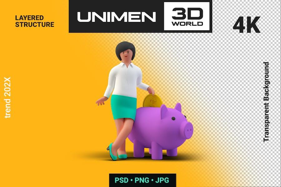 Businesswoman 3D Putting Coin in Piggy Bank
