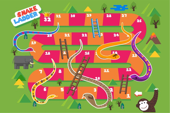 Thumbnail for Snake and Ladder boardgame is fun for kid. vector
