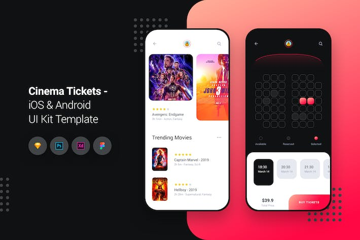 Thumbnail for Cinema Movie Tickets iOS & Android UI Kit Template