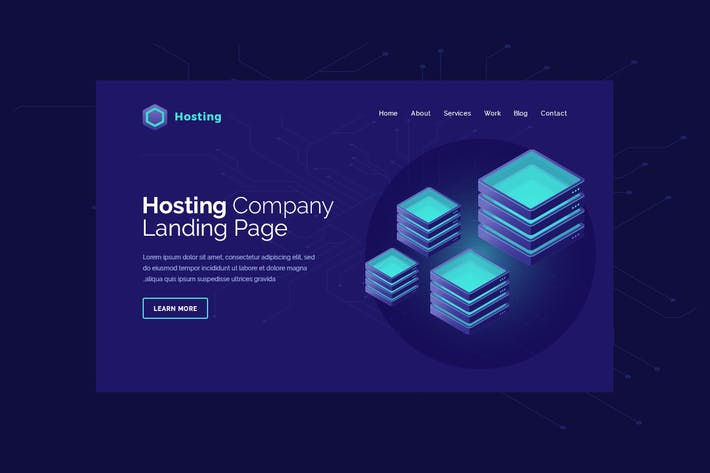 Thumbnail for Hosting - Hero Banner Web Page Template