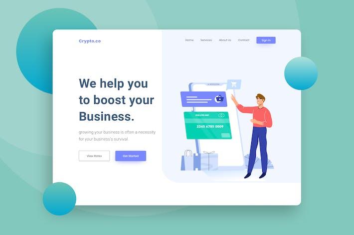 Mobile payment Website Header Illustration