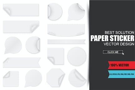 Leere weiße Papieraufkleber