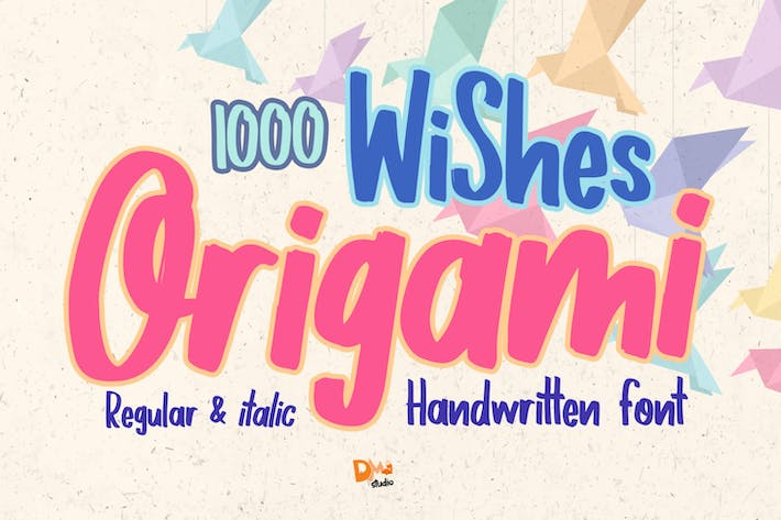 1000 Wishes Origami - Fuente manuscrita