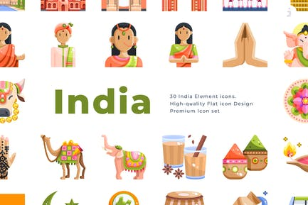 30 India Element Icons - Flat