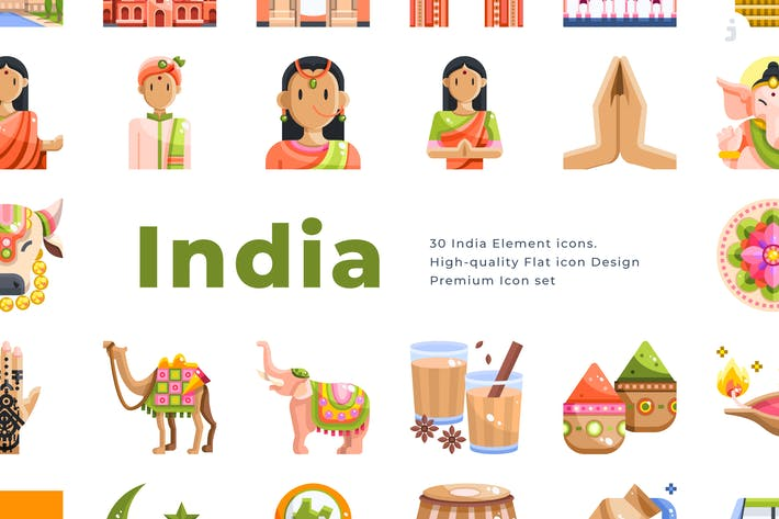 Thumbnail for 30 India Element Icons - Flat