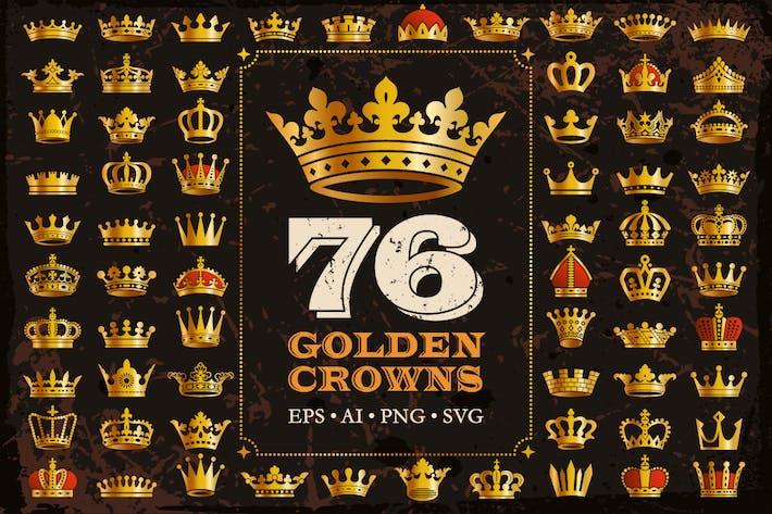 76 Goldene Königskronen-Ikonen-Vektor-Silhouetten