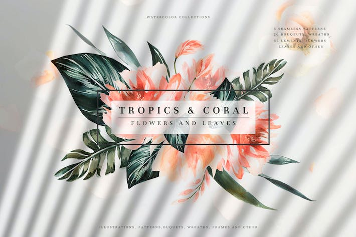 Thumbnail for Tropics & Coral Watercolor Set