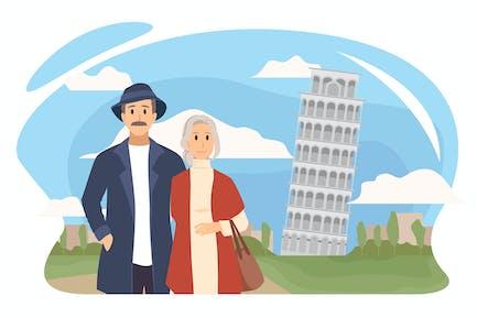 Una pareja de ancianos va de viaje a Europa.
