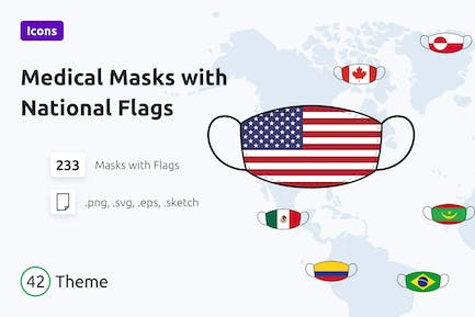 Medical Masks with National Flags