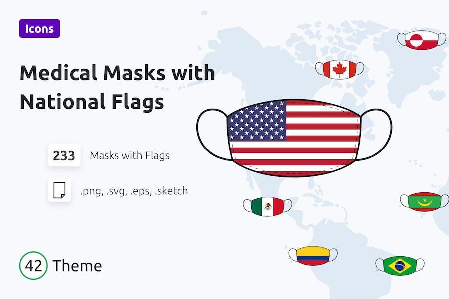 Medizinische Masken mit Nationalflaggen