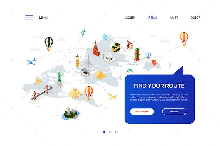Thumbnail for Find your route - colorful isometric web banner