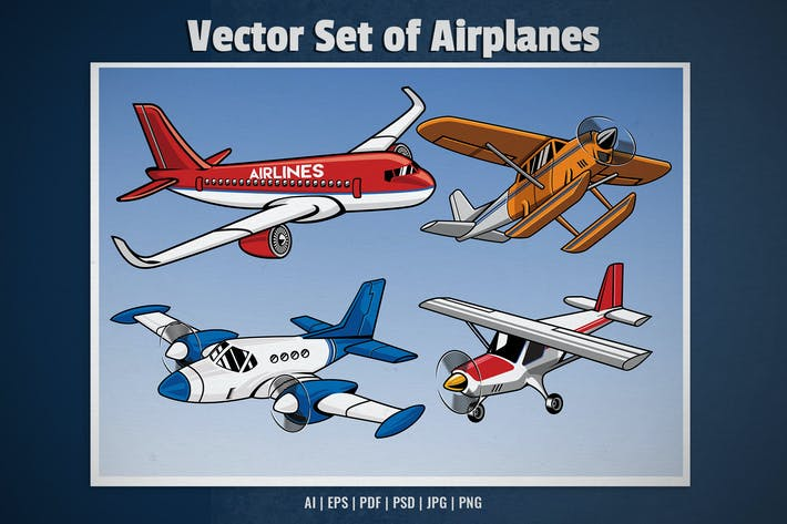 set collection of modern airplane vector