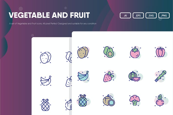 Thumbnail for Vegetable and Fruit Icon Pack