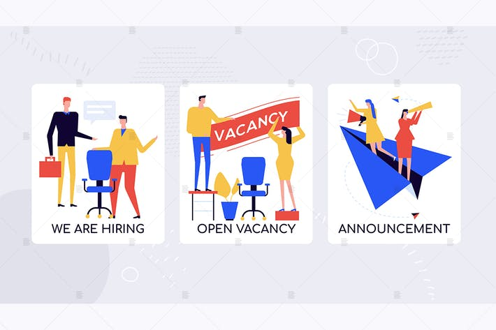 Thumbnail for HR agency hiring staff vector banners