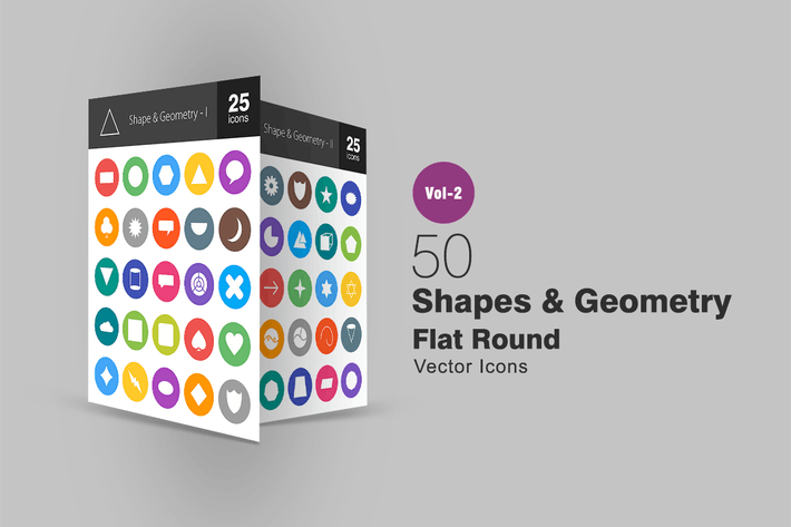 Thumbnail for 50 Shapes & Geometry Flat Round Icons