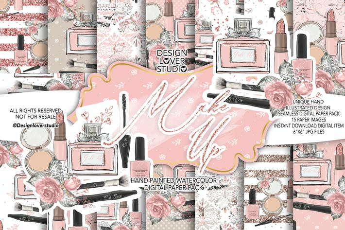 Thumbnail for Make up digital paper pack