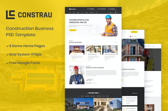Thumbnail for Constrau - Construction Business PSD Template