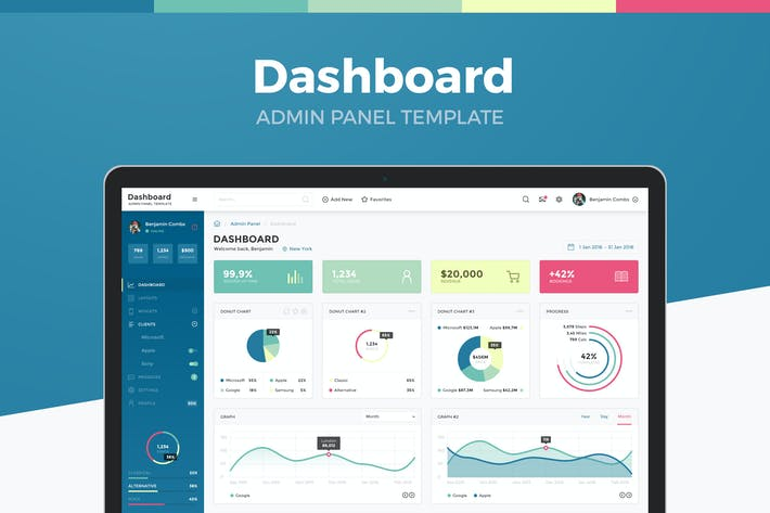 Dashboard Admin Panel Template By Laaqiq On Envato Elements - Website template with admin panel