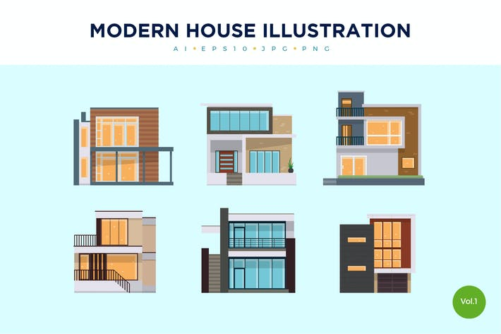Thumbnail for 6 Modern House Vector Illustration Set 1