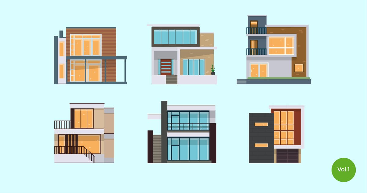 Download 6 Modern House Vector Illustration Set 1 by naulicrea