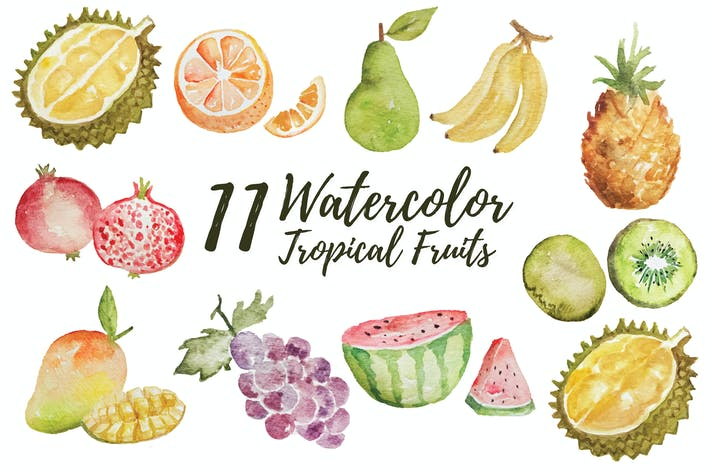 Thumbnail for 11 Watercolor Tropical Fruits Illustration