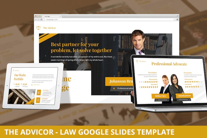 Thumbnail for The Advicor - Law Google Slides Template