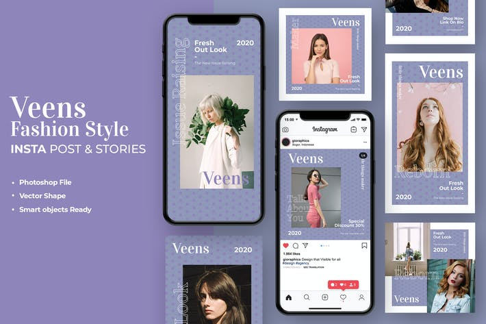 Thumbnail for Fashion Style Instagram Stories & Post Template