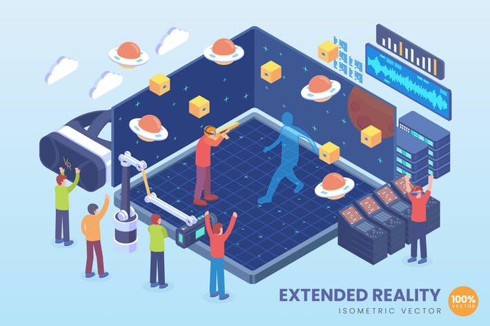 Thumbnail for Isometric XR Extended Reality Vector Concept