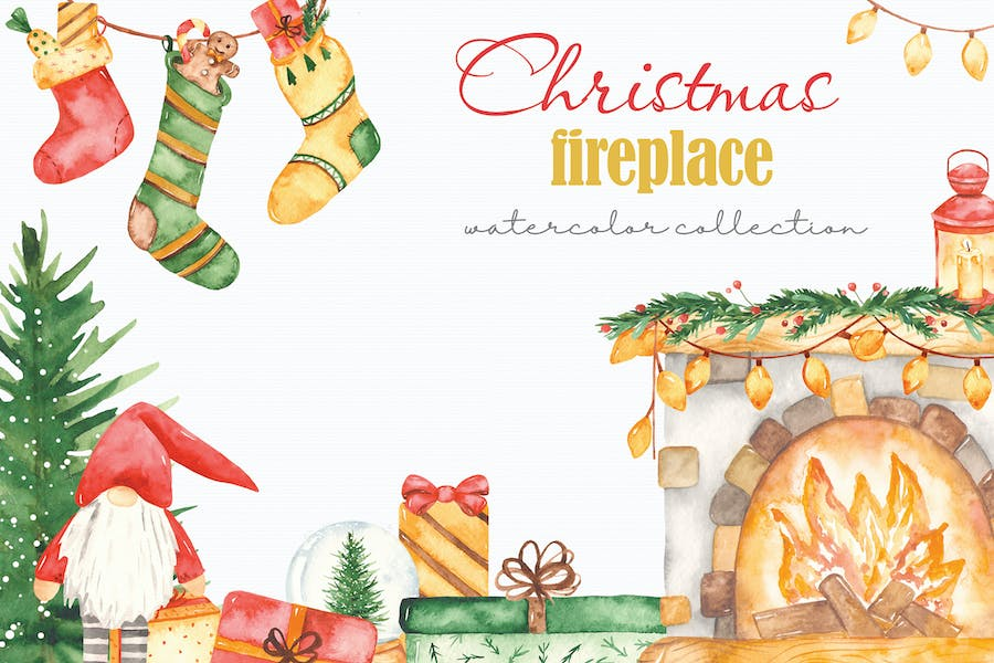 Watercolor Christmas fireplace