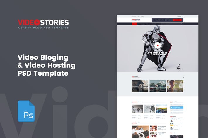 Thumbnail for VideoStories - VLOG & Video Hosting PSD Template