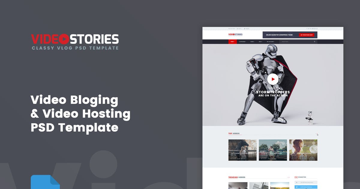 Download VideoStories - VLOG & Video Hosting PSD Template by bigpsfan