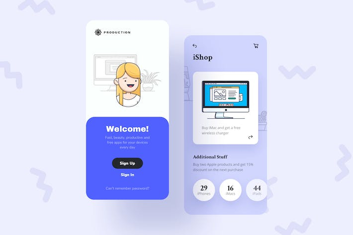 Thumbnail for Shop Mobile Interface Illustrations