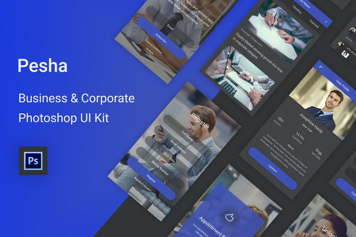 Thumbnail for Pesha - Business & Corporate Photoshop UI Kit