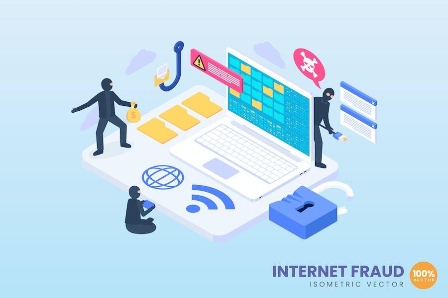 Isometric Internet Fraud Concept Illustration