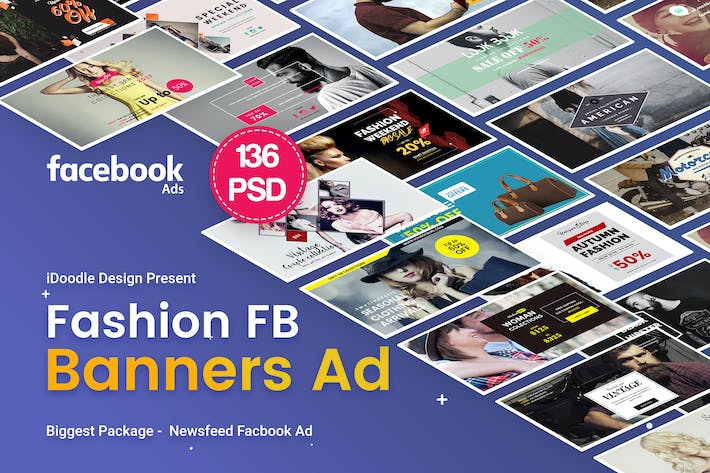 Thumbnail for Fashion Facebook Ad Banners - 136 PSD