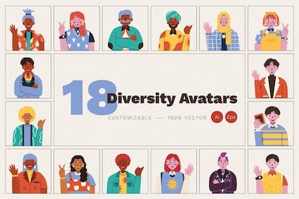 18 Diversity Avatars Set