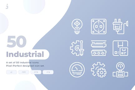 50 industrielle Icons