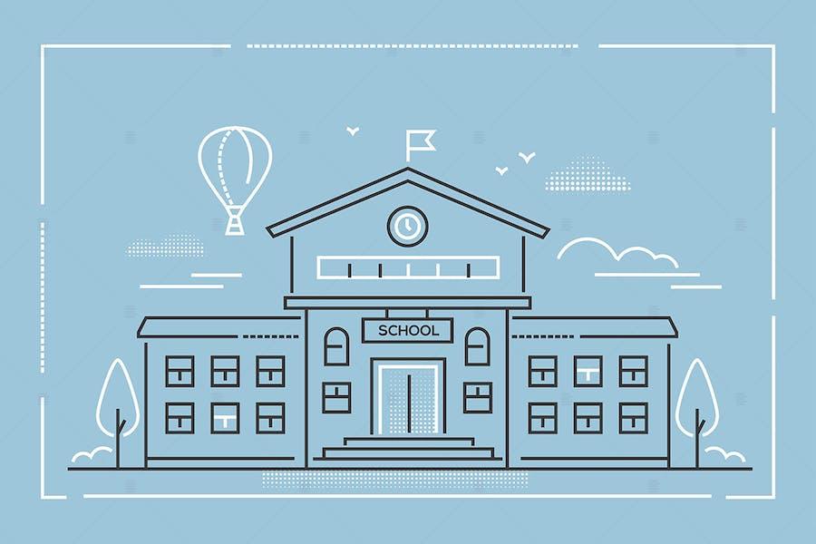 School building - line design style illustration