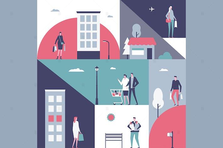Thumbnail for Shopping - flat design style illustration