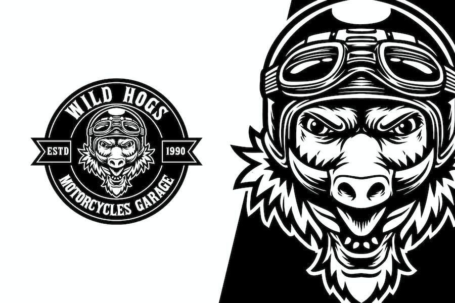 Wild Hog Motorcycles Mascot Logo