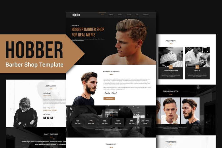 Cover Image For Hobber - Barbershop, Hair & Salon PSD Template YR