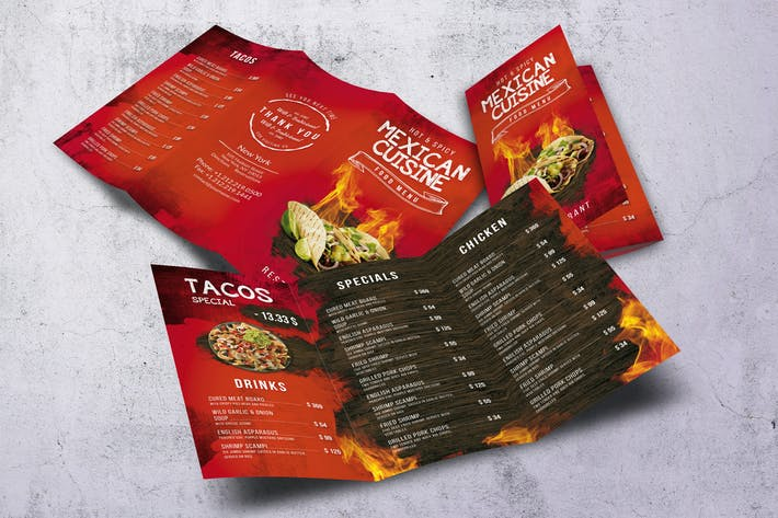 Thumbnail for Mexican A4 & US Letter Trifold Food Menu