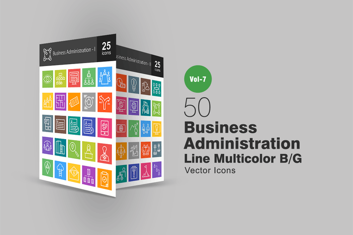 Thumbnail for 50 Business Administration Line Multicolor Icons